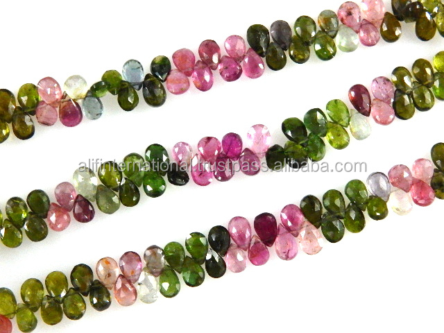 Natural 5x7MM Gemstone Faceted Briolette Pear Drops Watermelon Tourmaline Beads