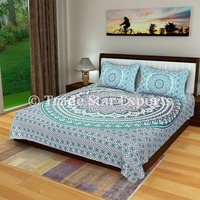 Indian mandala tapestry cotton fabric bedding with two pillow cover queen size bed sheet set