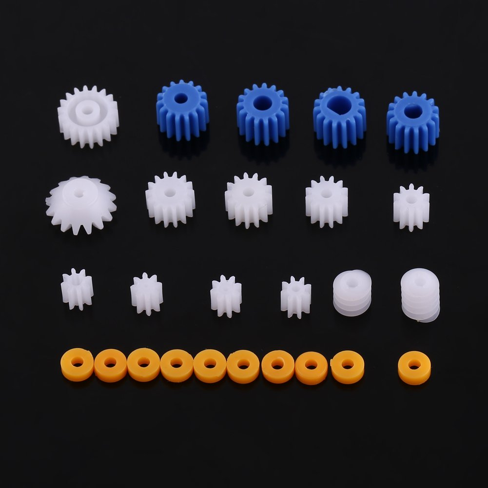 26pcs Plastic Spindle Worm Gear Set Assorted Plastic Shaft for Aircraft Car Model DIY Kit 2MM/2.3MM/3MM/3.17MM/4MM