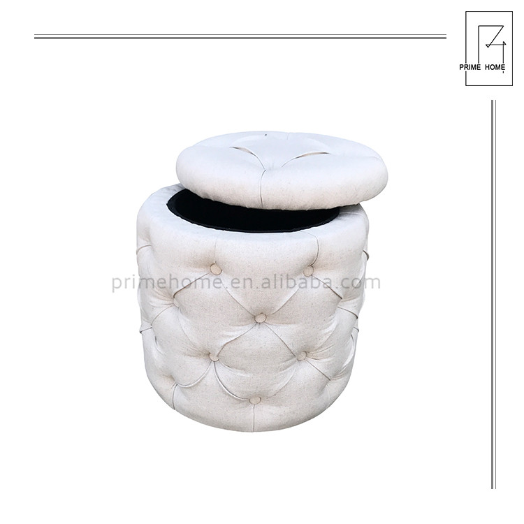 Factory supply attractive price Bedroom portable ottoman, round antique fabric ottomans
