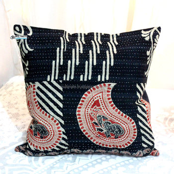 Indian Recycled Saree Cushion Cover Hand Embroidery Designs Kantha