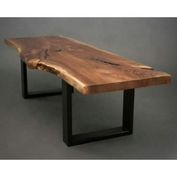 Vintage Indian Old Acacia Live Edge Wood Top Dining Table With Iron Legs Slab Tables Metal Leg