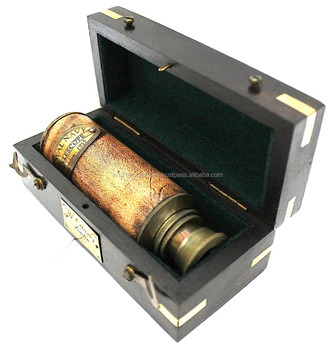 BRASS TELESCOPE WITH WOODEN BOX VICTORIAN MARINE SPYGLASS WITH LEATHER FINISH