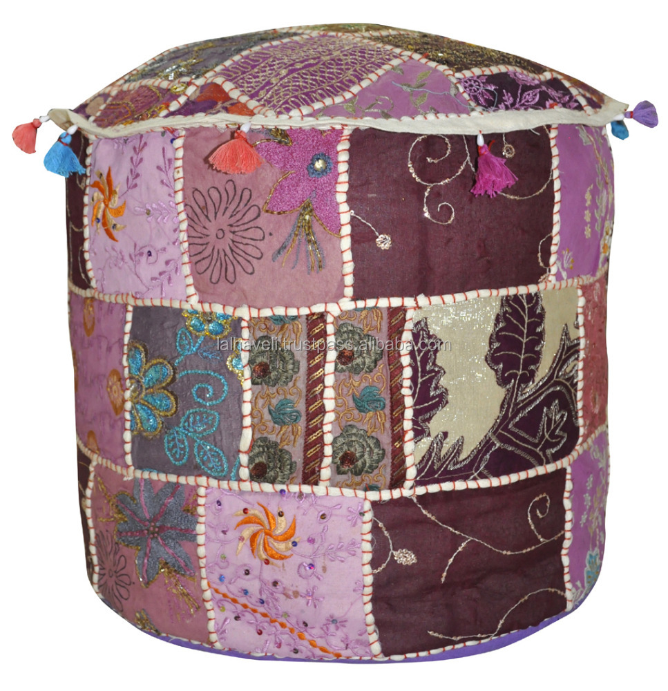 Multi Color Embroidery Cotton Pouf Cover Floor Cushion Decor Art Seating Bean Bag Indian