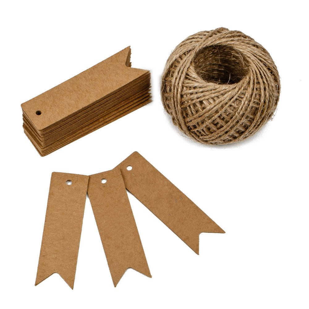 "KINGLAKE 100PCS Kraft Paper Gift Tags with String Vintage Wedding Hang Price Tags 2.75"" x 0.78"" with 100 Feet Natural Jute Twine"