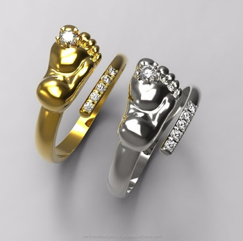 14k White Gold Yellow Gold Baby Feet Rings es With Cz Main