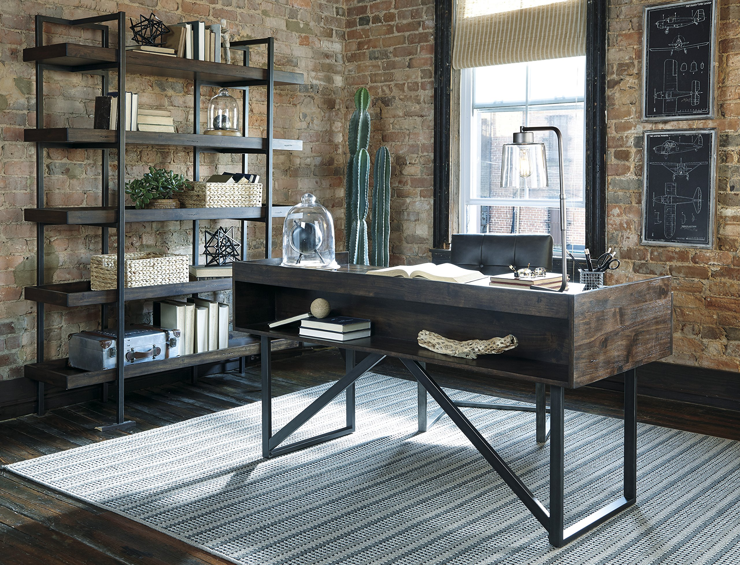 Modica Contemporary Acacia Brown 3-Piece Home Office Set with Desk, Bookcase and Tufted Chair