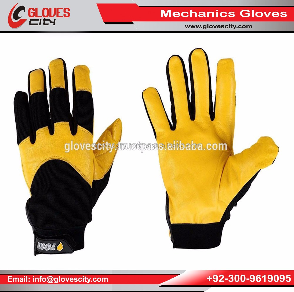 Seamless synthetic leather palm Mechanic Gloves /New Design PU Leather Mechanic Gloves