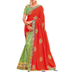 Orange- Lime Green color Designer Traditional Wear Saree with Thread, Zari and Cord Heavy Embroidery work