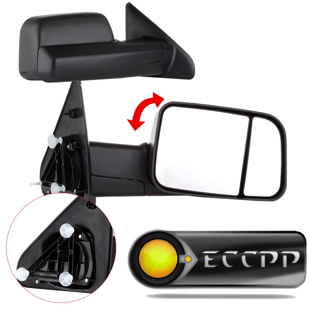 ECCPP Passenger & Driver Side View Towing Mirrors Manual Flip Up Textured Left Right Pair for 2002 2003 2004 2005 2006 2007 2008 Dodge Ram 1500 2500 3500