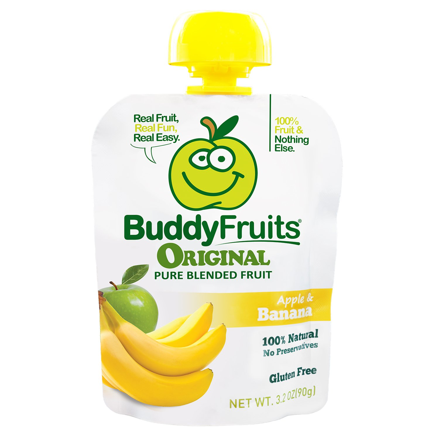 Buddy Fruits Pure Blended Fruit To Go, Banana and Apple, 3.2-Ounce Packages (Pack of 18)