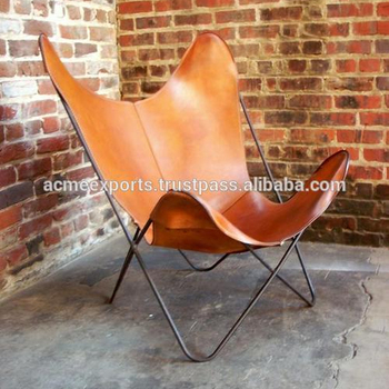 Living Room Butterfly Chair With Pure Leather Cover to Seat