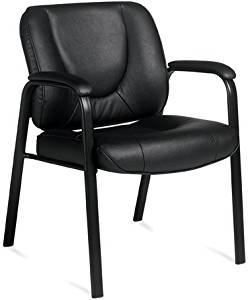 """Offices To Go Leather Guest Office Chair Overall Dimensions: 24.5""""W X 27""""D X 33.5""""H Seat Size: 21.5""""W X 18.5""""D Back Size: 21.5""""W X 16""""H Arm Height: 9"""" - Black Leather"""