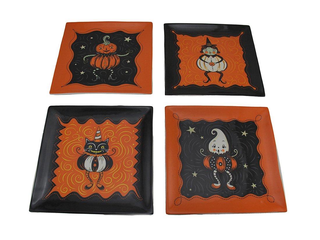 Zeckos Ceramic Decorative Plates Pumpkin Peeps 4 Piece Set Of Vintage Style Halloween Ceramic Plates 8 X 0.75 X 8 Inches Multicolored