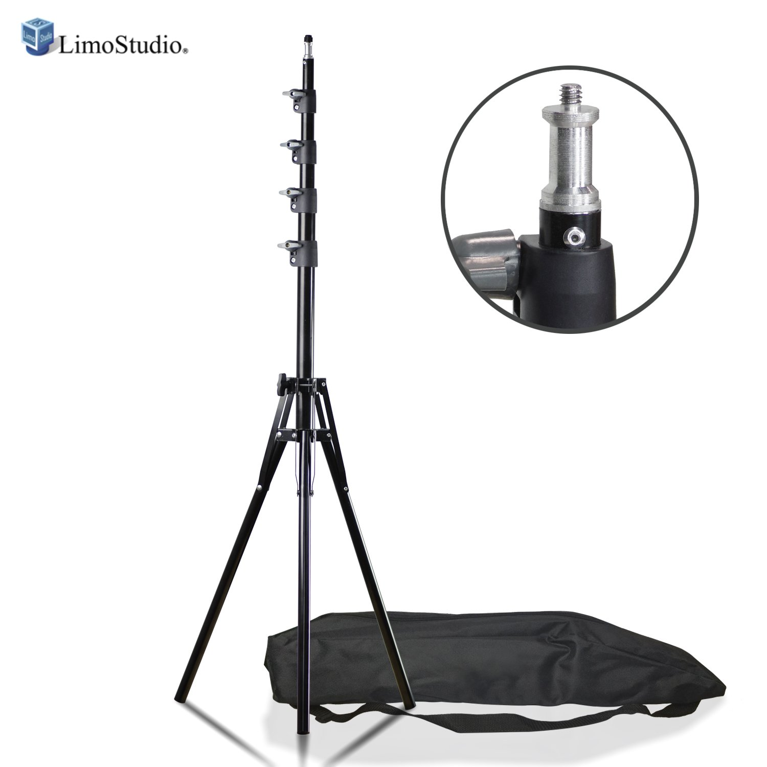 LimoStudio Adjustable Light Stand with 9ft Max Height and Carrying Bag for Photo Video Studio AGG2697