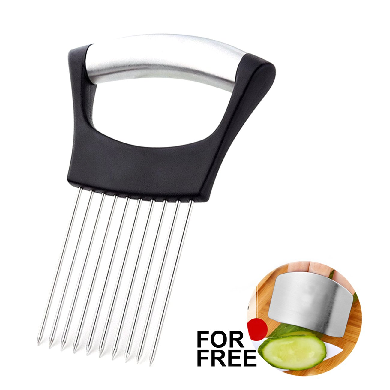 Best Utensils Onion Holder For Slicing Tomato Lemon Slicer Holder Vegetable Potato Cutter Slicer Meat Tenderiser Stainless Steel Cutting Kitchen Gadget