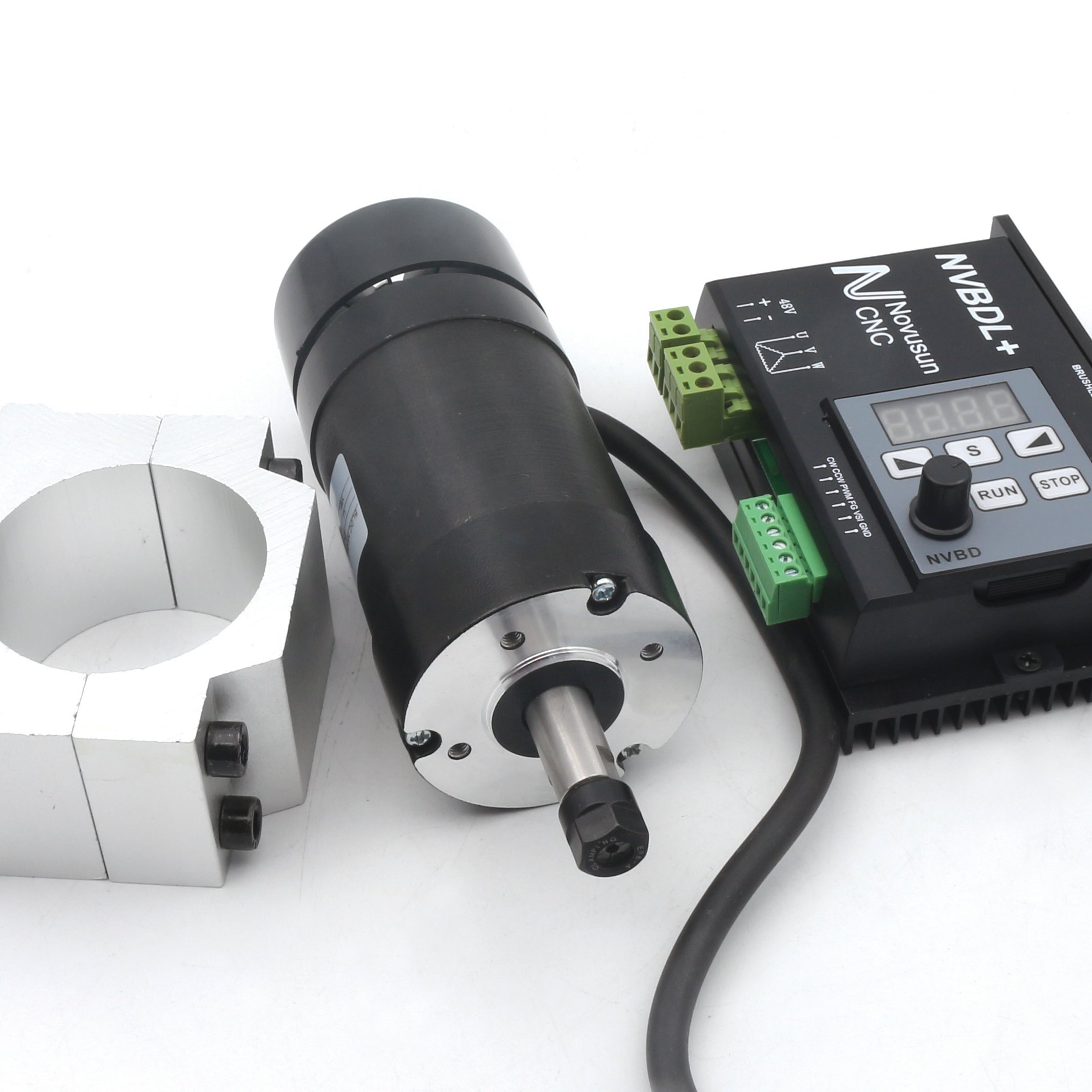 400W CNC DC Air Cooled Spindle Motor ER8 NVBDL+ 12000rpm Brushless Spindle Motor kit + 600w Brushless Motor Driver Without Hall LCD Panel + 55mm Mount Bracket 【For small and medium-sized processing】