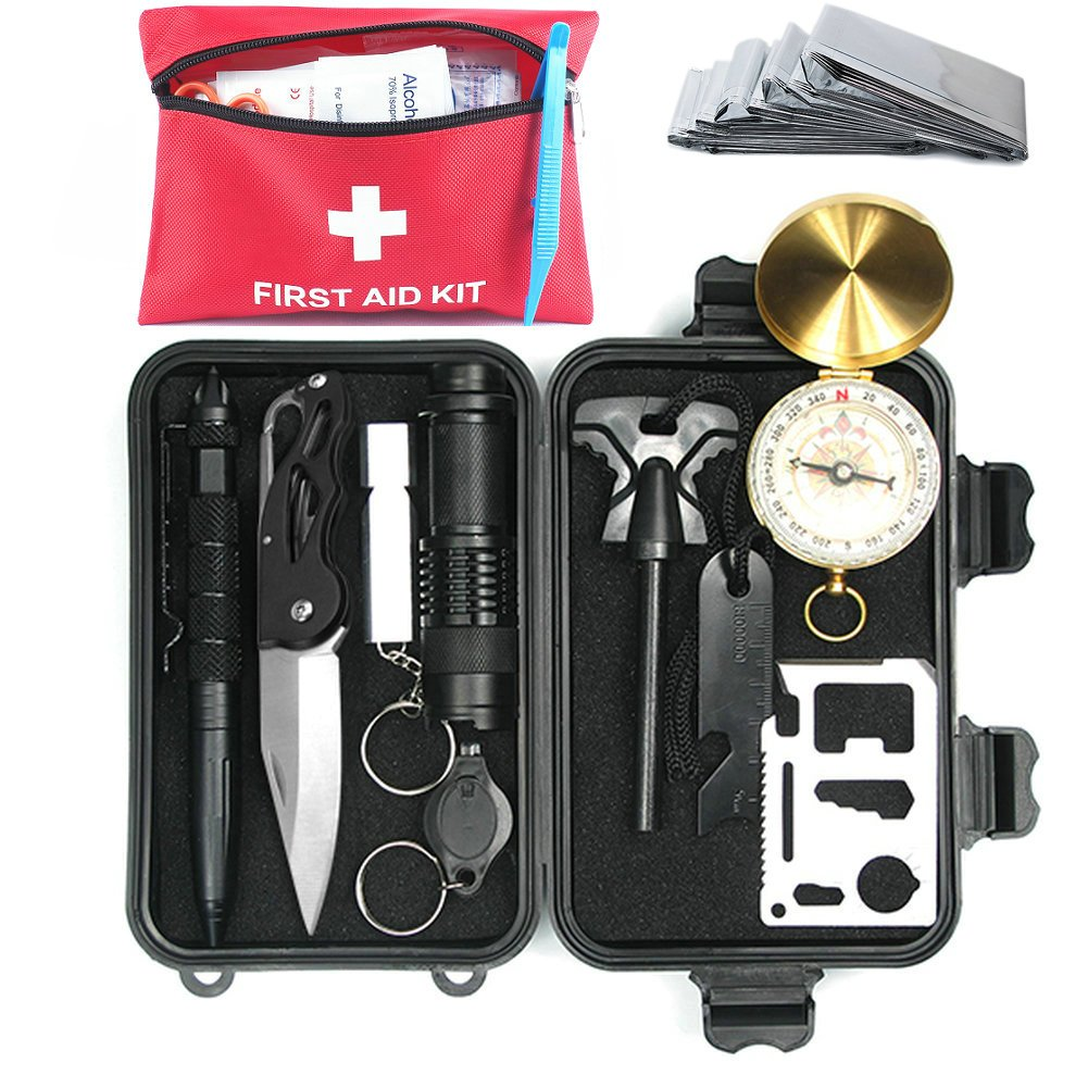Emergency Survival Kits with First Aid Kit Medical Bag, 11 in 1 Outdoor Survival Gear Kit with 67 Piece Portable Medical Survival Bag, for Camping Hiking Hunting Biking Climbing Traveling