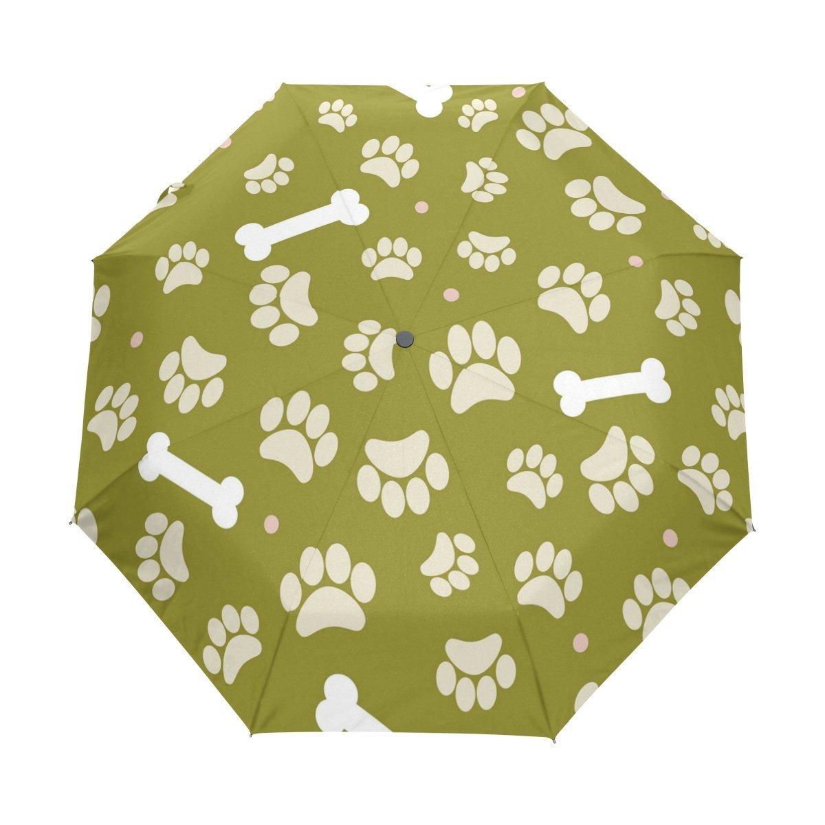 WOZO Dog Paw Print Bone 3 Folds Auto Open Close Umbrella