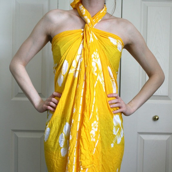 Sarong Midi Indian Rayon Wrap Swim Wear Floral Printed Beautiful Yellow Color Pareo