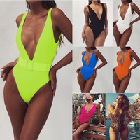 2019 foreign trade explosion models one-piece swimsuit Europe and America leopard belt buckle one-piece bikini
