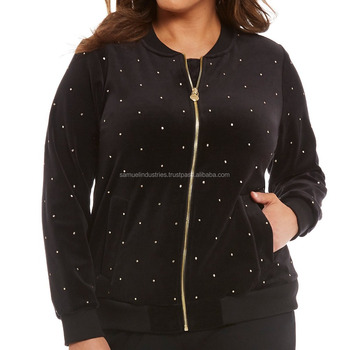 Ladies Plus Size Cotton Fleece Bomber Jackets With White Dots Black Fleece Baseball Varsity Jacket Small Dots Varsity Jackets
