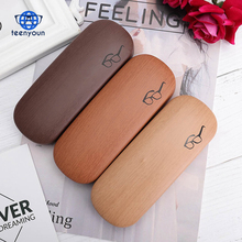 (High) 저 (Quality Wood Grain Hard Kit 홀더 Metal 독서 Glasses Case 대 한 Men 및 Women PU Leather <span class=keywords><strong>안경</strong></span> <span class=keywords><strong>상자</strong></span> Free 배송 건
