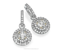 White Diamond Earrings Round Shape in White Gold with Round Diamonds IGL 9.5ct