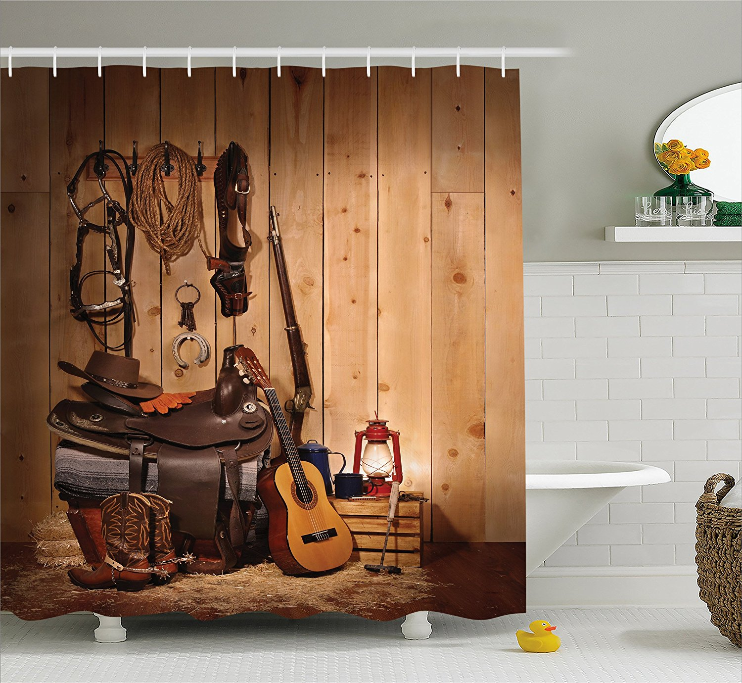 Get Quotations · Western Decor Shower Curtain By Ambesonne, American Texas  Style Country Music Guitar Cowboy Boots USA