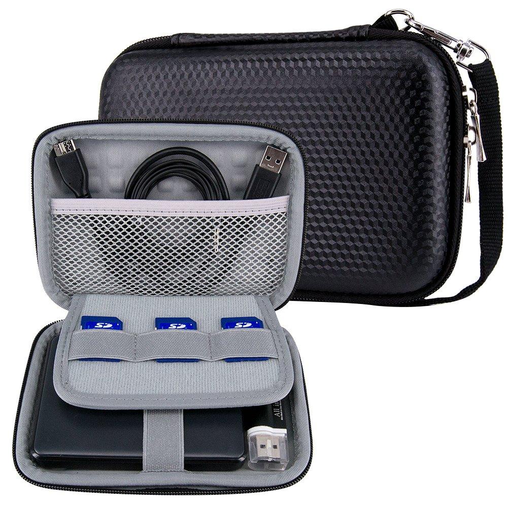 Elvam Protective Black Polaroid Snap Touch Case / Polaroid ZIP Mobile Printer Case / HP Sprocket Portable Photo Printer Case / Digital Camera Case / Hard Drive Case etc, w/ a Removable Wrist Strap