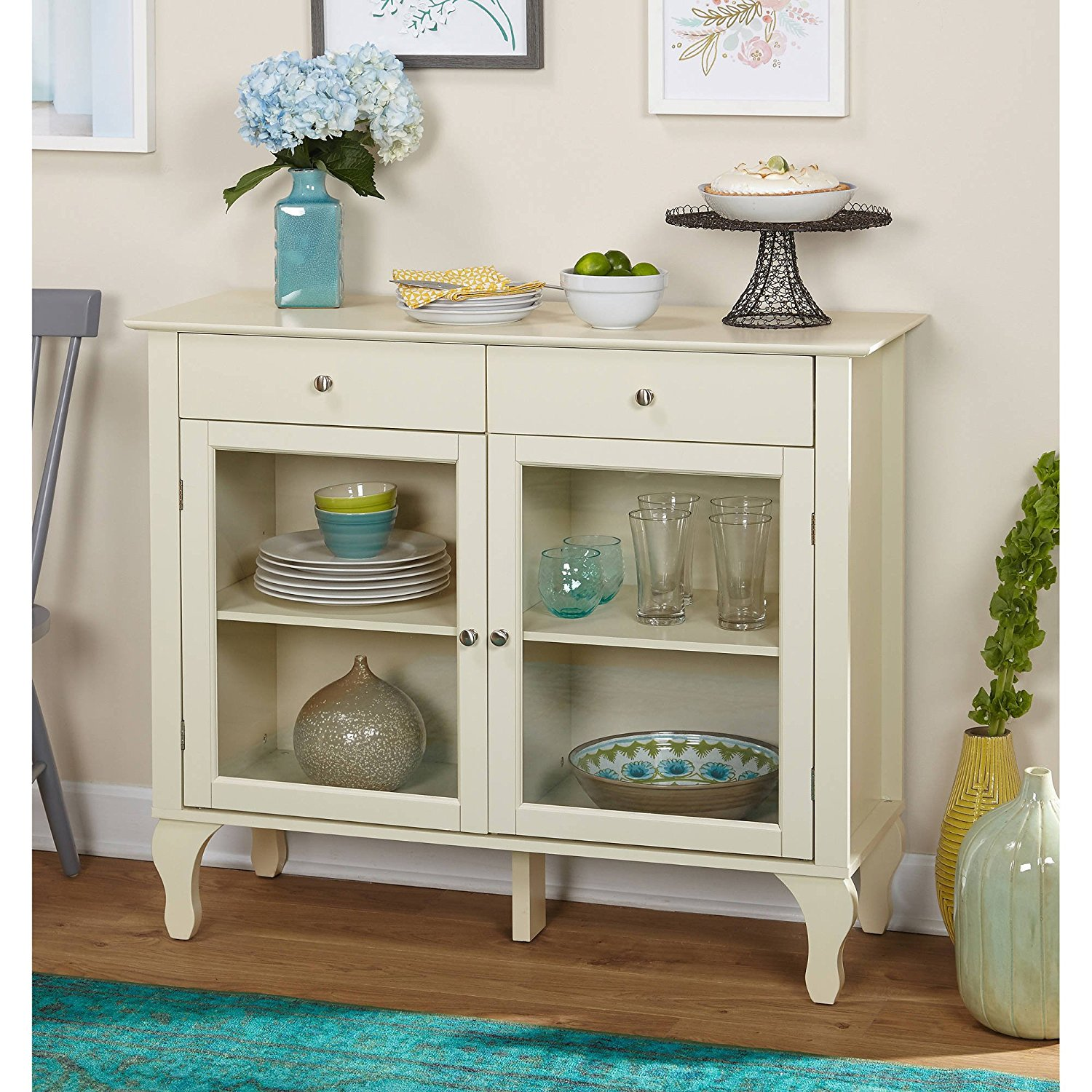 Drawer Buffet, An Accent in your Kitchen, Storage Capacity, Practical Sideboard, Adjustable Shelves, Perfect Addition to your Interior, Attractive Furniture Item, Multiple Colors (Antique White)