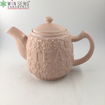 wholesale flower pattern pink ceramic teapot/ porcelain coffee pot