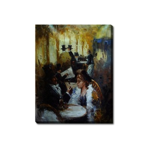 Vintage Figure Picture Art Man and Woman Oil Painting on Canvas
