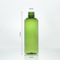150ml - 18mm - 17g Green cosmetic PET plastic bottle round shoulder PET bottle for facial lotion