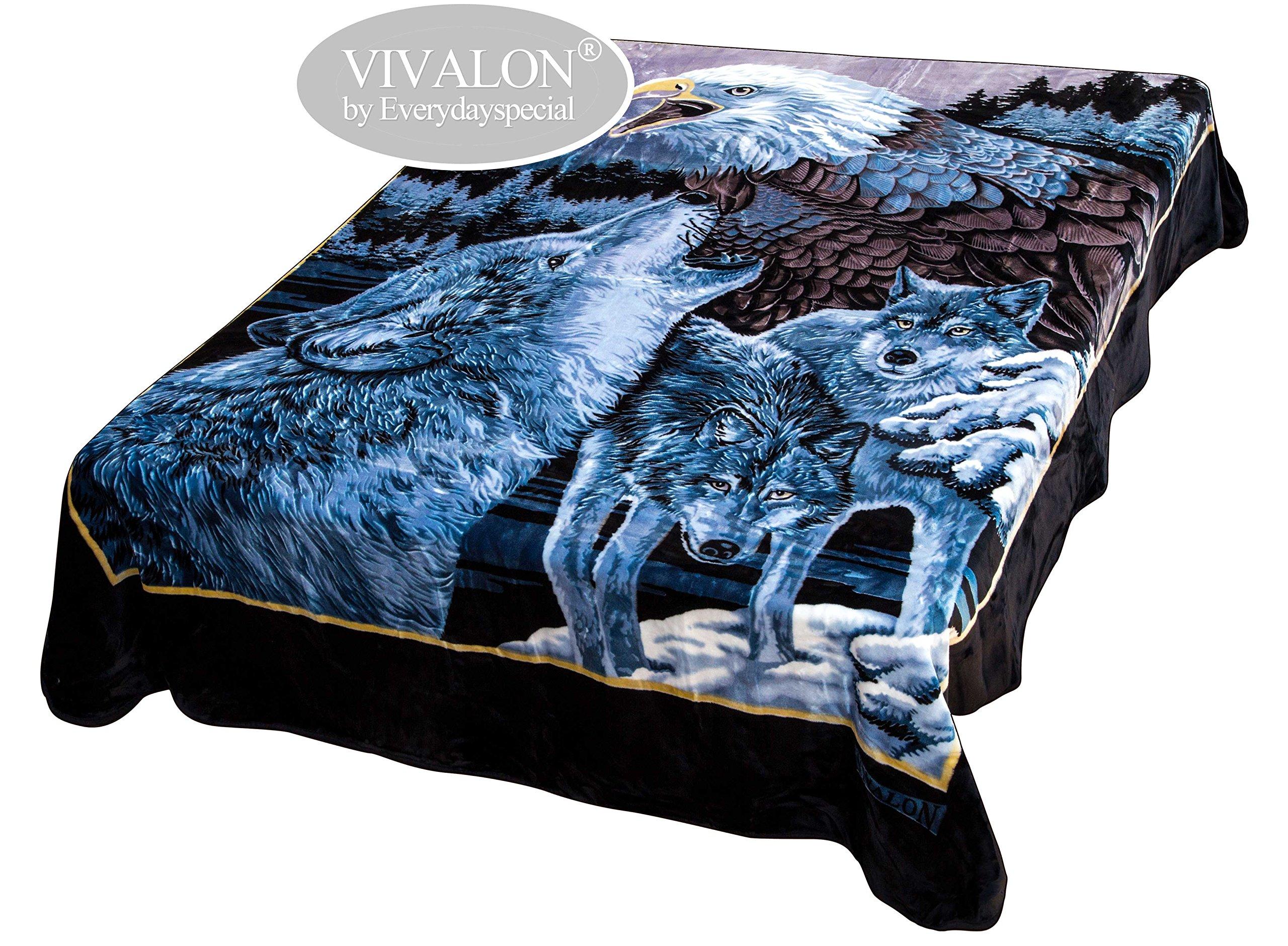 VIVALON Ultra Silky Soft Heavy Duty Quality Korean Mink Printed Blue Eagle Wolves Reversible Blanket Queen Size