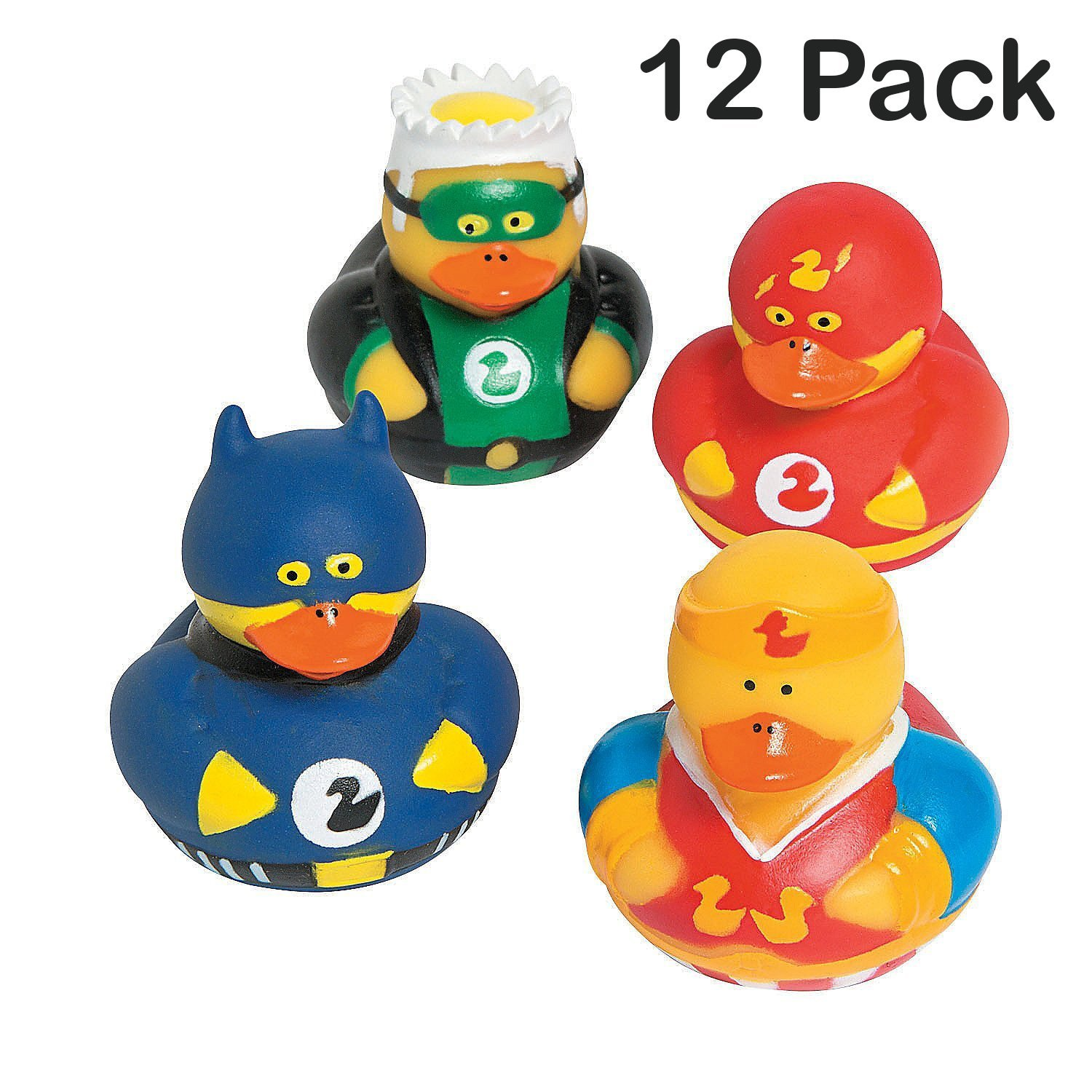 Superhero Ducks 2 Inches - Pack Of 12 – Assorted Colorful Superhero Rubber Duckies - For Kids Great Party Favors, Bag Stuffers, Fun, Bathtub Toys, Gift, Prize - By Kidsco