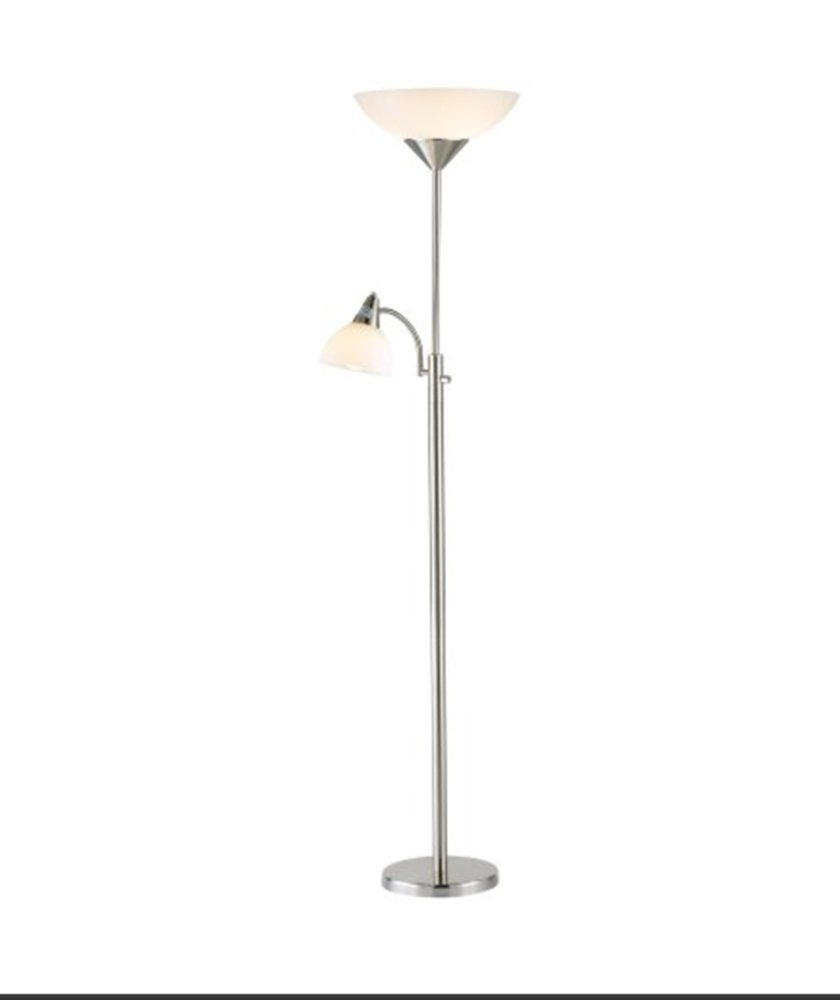 """Adesso 7202-22 Piedmont 71"""" Torchiere with Adjustable Reading Lamp, 2 lights, Steel, Smart Outlet Combo Floor - Satin Steel"""