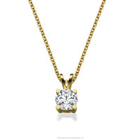 0.4 CT Classic Solitaire diamond pendant Set in 4 Prong Setting With Necklace 14 k Yellow Gold