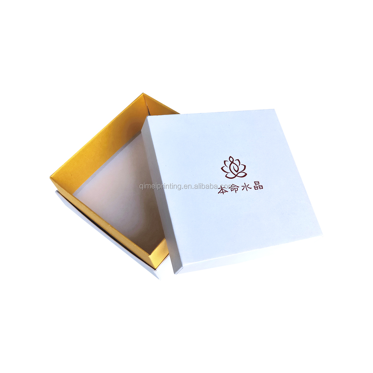 Luxury  Custom Golden Hot Stamping Logo Square Cardboard packing Bracelet Ring Jewelry Box