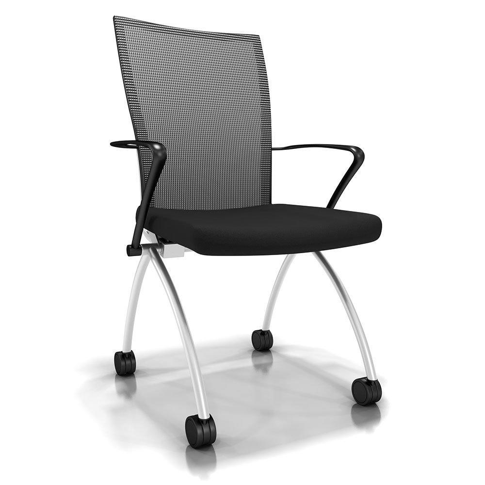 "Set of 2 Mesh Back Mobile Nesting Chair Black Fabric Seat/Black Mesh Back/Chrome Frame Dimensions: 23""W x 24""D x 36.5""H Seat Dimensions: 19""Wx17""Dx18.5""H"