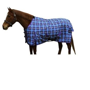 Checks Printed 1200 D Blue Purple Horse