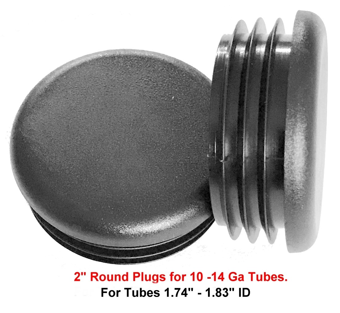 """(Pack of 4) - 2"""" OD Round Black Plastic Tubing Plug, 2 Inch End Cap - Steel Furniture Pipe Tube Cover Insert 
