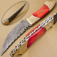 Bowie skinning camping tactical survival hunting pocket Damascus knife pocket knife
