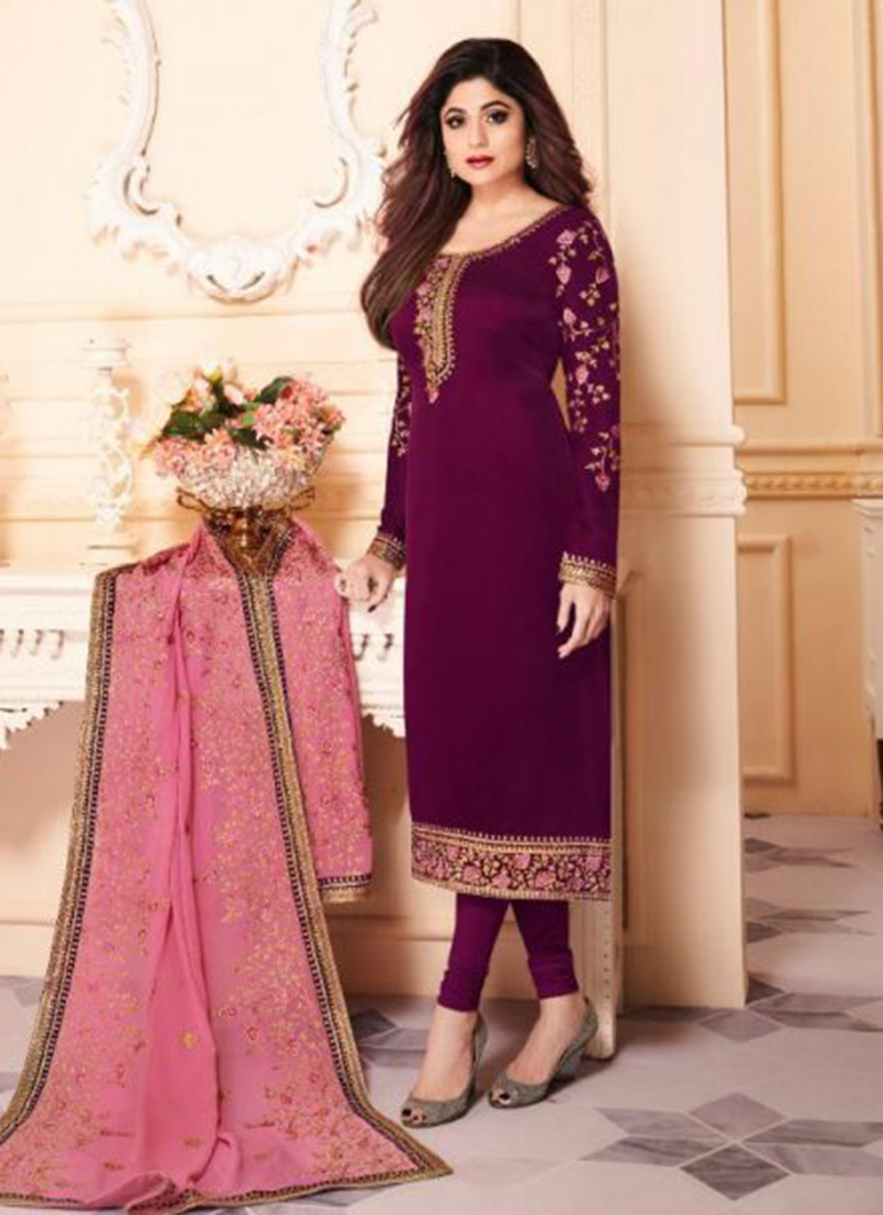 Shamita Sheety Party Wear New Designer Georgtte Churidar Suits Wholesale Collection