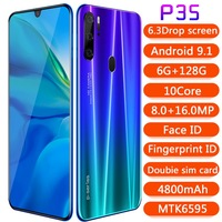 Global SuperCharge unlocked as P35 Pro design Smartphone 6.3 inch 6GB+128G Octa Core Mobile Phone Android Cell Phone