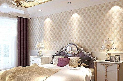 Hanmero Modern Luxury 3d Faux Leather Textured 10m Vinyl Mural Wallpaper for Living Bedroom Cream White