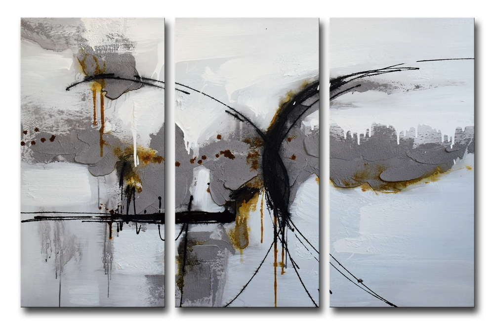 Bedwelming Moderne Geweven Abstracte Zwart-wit Thema Canvas Muur Art #AT77
