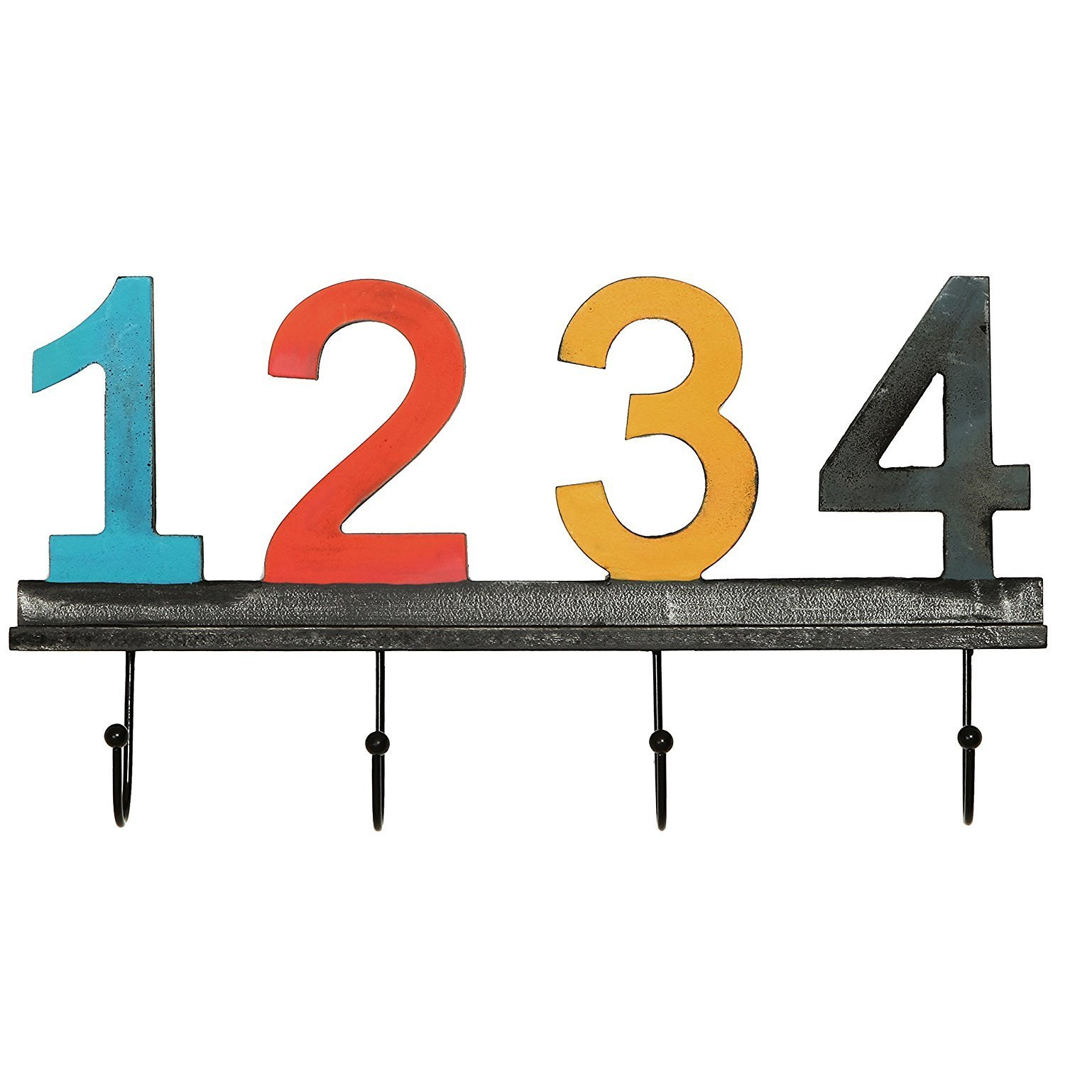 Chris.W Vintage-Style Multi-Colored Wooden Wall Mounted Numbered Coat & Hat Hooks Rack Hanger w/ 4 Metal Hooks, Numbers 1,2,3,4