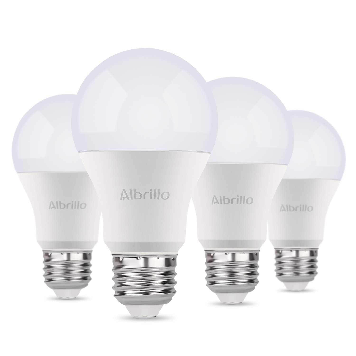 Albrillo A19 Light Bulb E26 LED Bulb 9W, 60 Watt Incandescent Light Bulbs Equivalent, Medium Base Light Bulb, 5000K Daylight White, Pack of 4