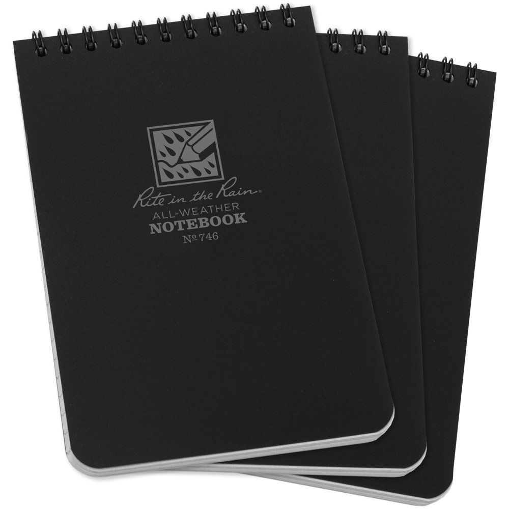 "Rite in the Rain All-Weather Top-Spiral Notebook, 4"" x 6"", Black Cover, Universal Pattern (No. 746-3)"